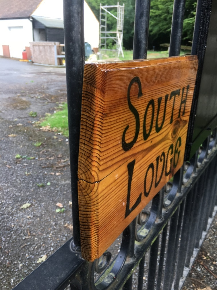 exterior wood sign weatherproofed and varnished end grain